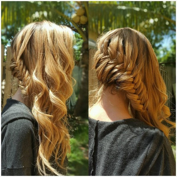 Side Dutch braid with a fishtail