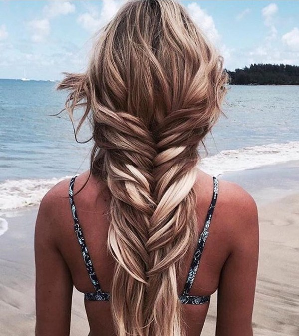 Wide fishtail for dark blonde hair
