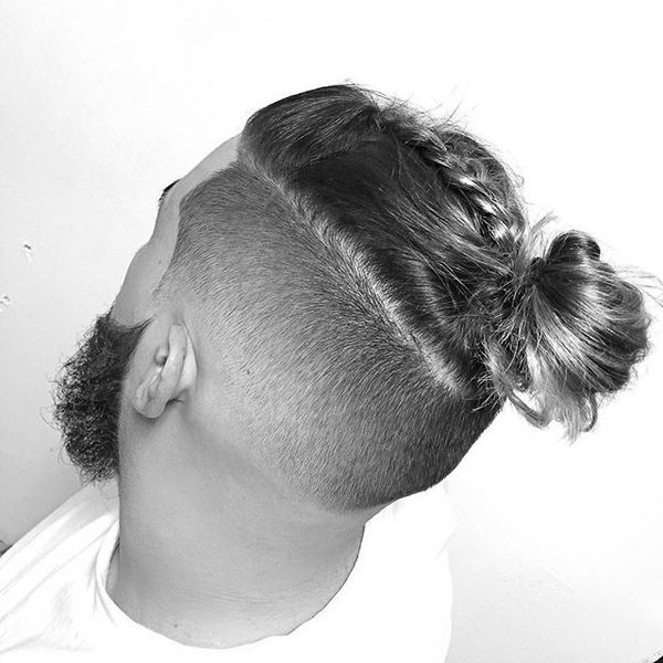 Male Bun with A Braid