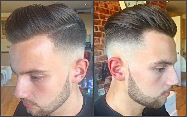 Combed Back Hairdo With Thin Part And Fade