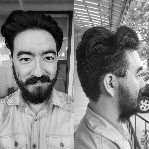 22 High pompadour with the beard and mustache