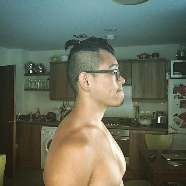 3 The top-knot with shaven temples