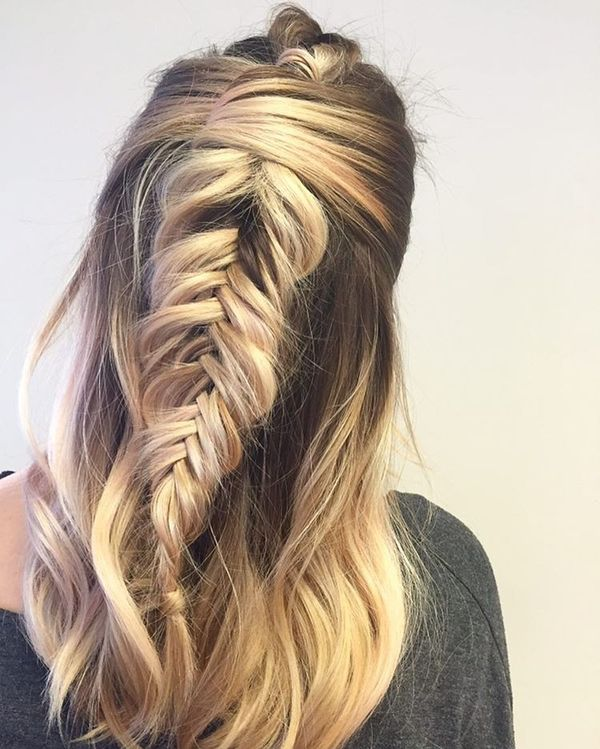 Picked half-up with a fishtail braid