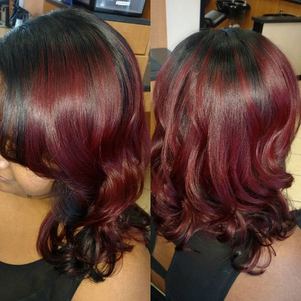 Burgundy ombre with a black crown