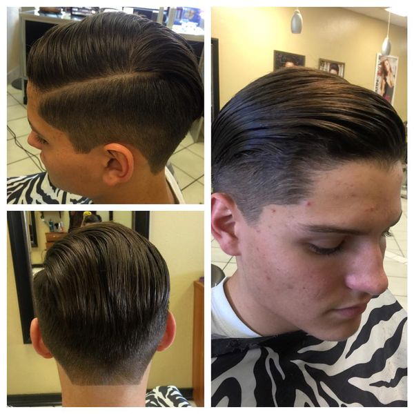 Long Side-Parted Haircut And Lined Up Nape