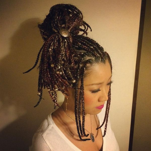 Asian cornrows tied on the top
