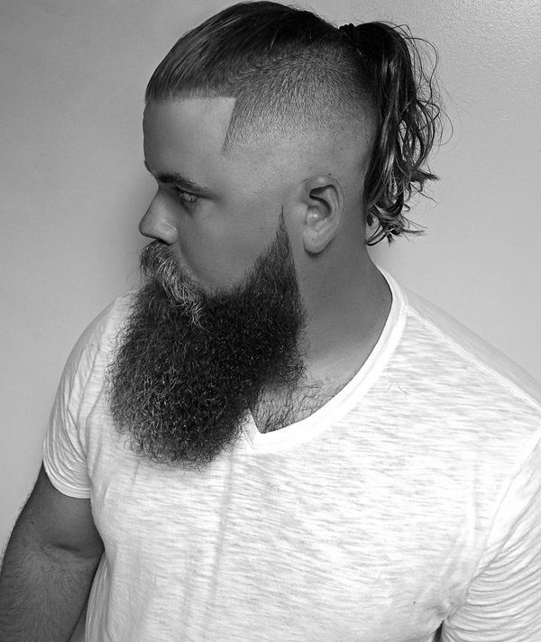 71 Undercut Ponytail with Long Beard