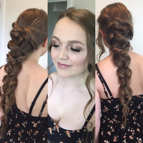 Attractive Twisted Long Prom Braid