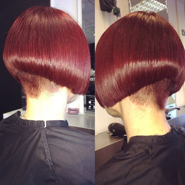 Fiery Shades of ALine Hairdo with a Shaved Neck0