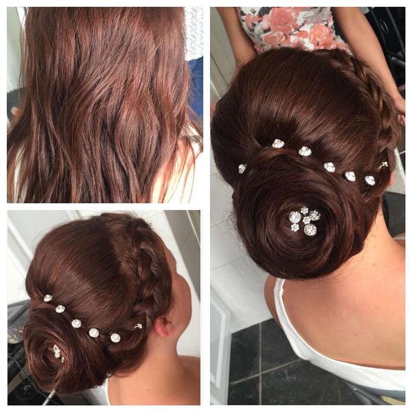 Glorious Rose Updo with Accessories