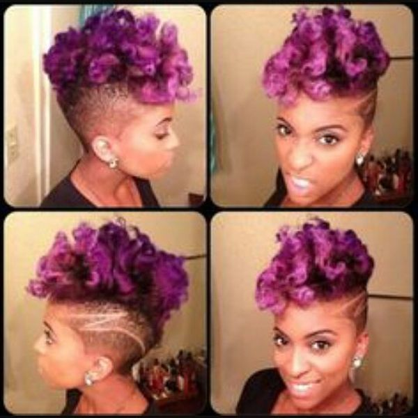 Purple Short Mohawk for Black Women0
