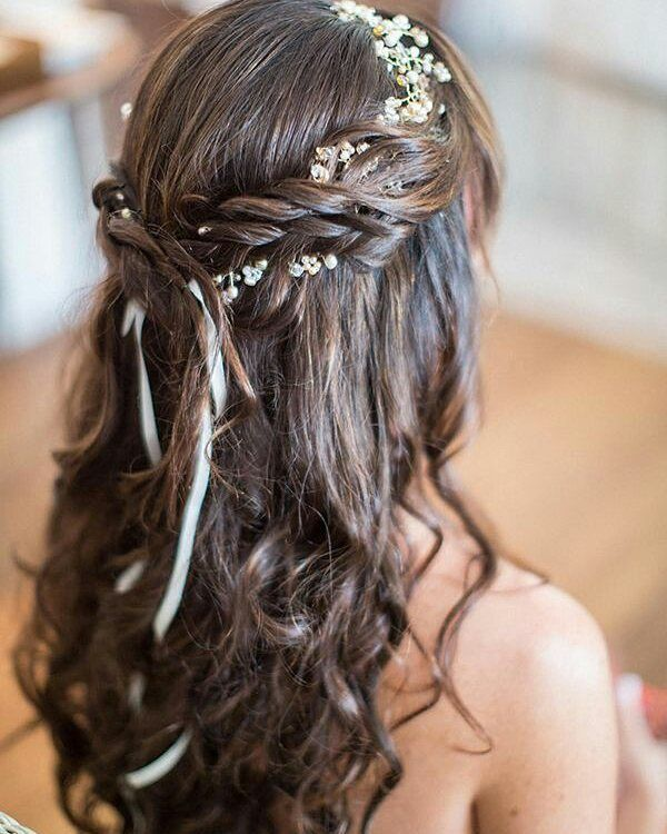 Romantic Curls with a Braided Flower Crown