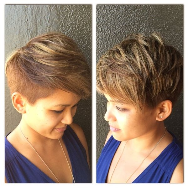Streaked Out-of-Square Side Bangs