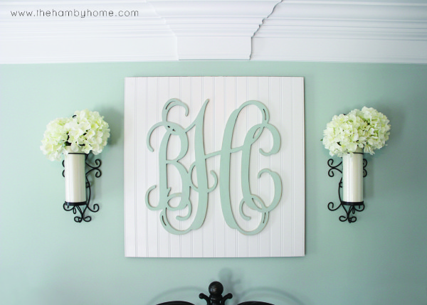 Monogram Wall Art diy beadboard monogram wall art - the hamby home