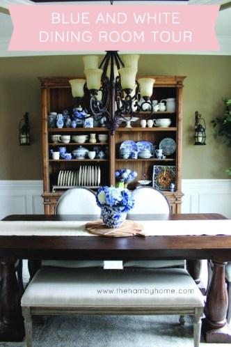 blue and white Dining room tour -V