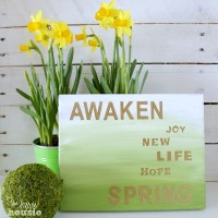 Gold and Green Ombre Spring Sign {and Gold Projects Hop!!}