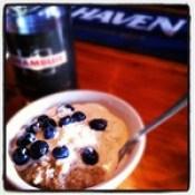 porridge with blueberries and drambuie