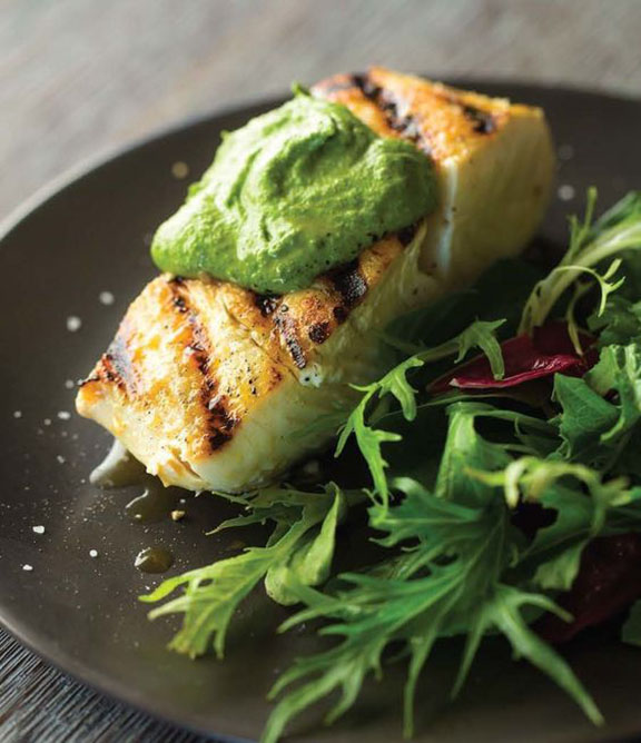 GRILLED HALIBUT WITH CHIA PESTO