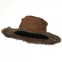 Hemp Hat with Frayed Brim - Brown