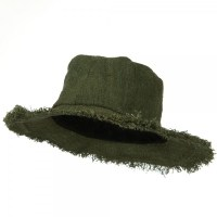 Hemp Hat with Frayed Brim - Green