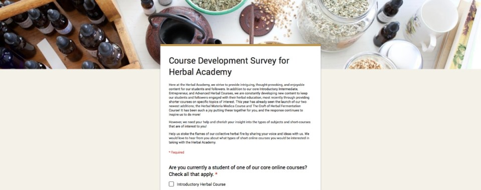 (Survey) Help Us Choose Our Next Short Course! | Herbal Academy | We want to create short courses that meet your needs. Share your thoughts with us in this quick survey!