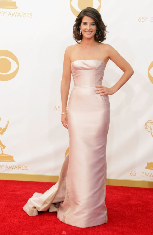 The He Said She Said Experience- Fashion Desk- 2013 Emmys- Cobie Smulders in J. Mendel