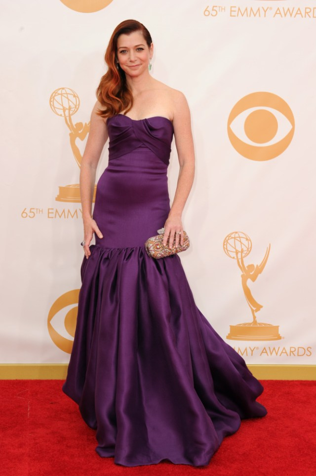 The He Said She Said Experience- Fashion Desk- 2013 Emmys- Alyson Hannigan in Marchesa