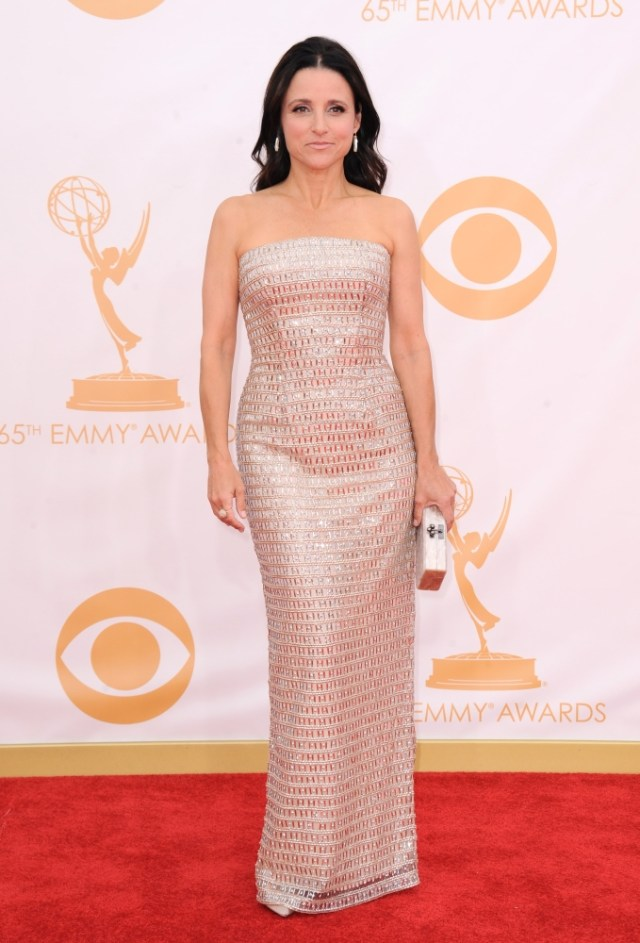 The He Said She Said Experience- Fashion Desk- 2013 Emmys- Julia Louis-Dreyfus in Monique Lhuillier