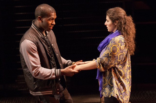 (L to R) Khris Davis as Duke and Melis Aker as Roya in Love in Afghanistan at Arena Stage at the Mead Center for American Theater October 11-November 17, 2013. Photo by Teresa Wood