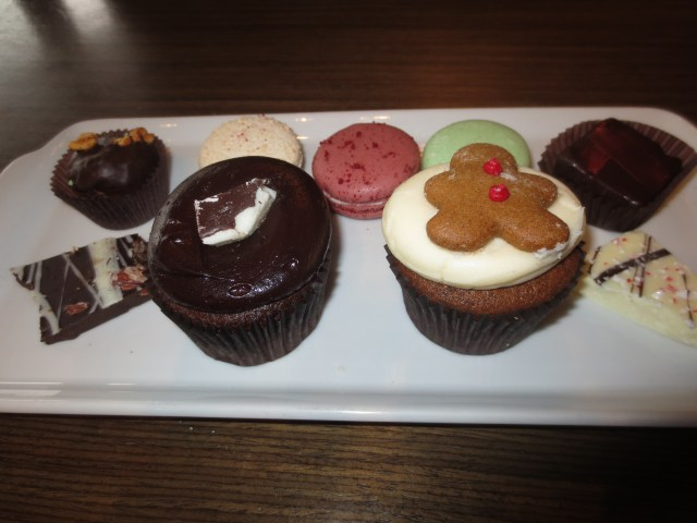 Some of the delcious goodies we sampled including the barks, macarons and of course that fantastic gingerbread cupcake!