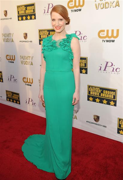 The He Said She Said Experience- 2014 Critics' Choice Movie Awards Best Dressed- Jessica Chastain in Nina Ricci