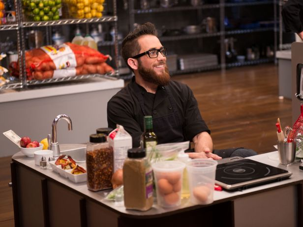 Chef Reuben spent time cooking in the little kitchen during the Cutthroat Kitchen challenge.