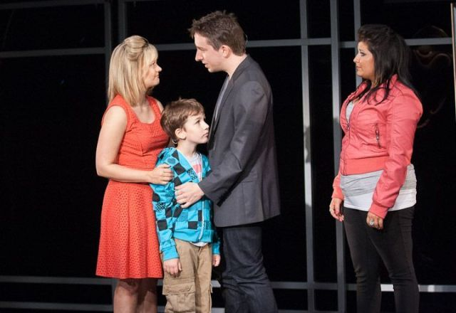"""Alison (Erin Driscoll, left) and Evan (James Gardiner) take some first steps toward trusting each  other as Evan's grandson Jesse (Holden Browne) and daughter Makalo (Carolyn Cole) take  some first steps toward trusting him. """"Spin"""" plays at Virginia's Signature Theatre through July 27, 2013.  Photo: Teresa Wood."""