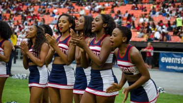 Howard University cheerleaders cheer on the Howard Bison football team during the 2016 AT&T Nation's Classic Saturday, September 17. (Photo Credit: Zachary Stephens, Staff Photographer/The Hilltop)