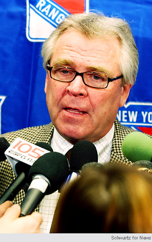 "Sather has plenty of decisions to make this week aside from the ostensible: ""Should I get more hipster-y glasses?"" Glenn Sather/ NY Rangers GM"