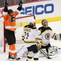 Simon Gagne scoring his last goal as a Flyer