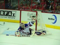 Lundqvist makes a save here on the Caps, but ultimately loses the game (Tom Turk/THW).