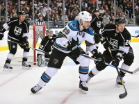 Ryane Clowe of the San Jose Sharks (Gary A. Vasquez-US PRESSWIRE)