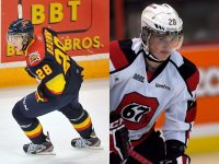 On September 29, 2012, both OHL players named Connor Brown managed to score in the same game in an 8-1 win by the Ottawa 67's over the Erie Otters.  The elder Brown scored at 14:28 of the first period on the powerplay while the younger Brown scored at 15:02 of the third period.  As if the fact that this occurred was not incredible enough, both players share the jersey number 28.  (Terry Wilson/OHL Images; Valerie Wutti/Blitzen Photography)