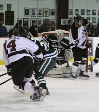 Shayne Gostisbehere roofs a shot against Dartmouth [photo: Marilyn Zube]