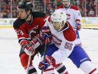 David Clarkson and Montreal Canadiens defenseman Francis Bouillon battle (Ed Mulholland-USA TODAY Sports)