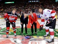 MacKinnon and Jones ceremonial faceoff before the Top Prospects Game - at the Memorial Cup they face off in the last legs of the race for #1 overall in the 2013 NHL Draft. [Photo: David Chan]