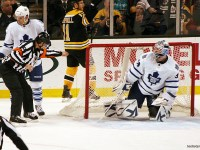 Wes McCauley indicates a goal in the first round series between the Leafs and Bruins (Flickr/slidingsideways)