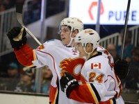 Sean Monahan and Jiri Hudler (Kyle Terada-USA TODAY Sports)