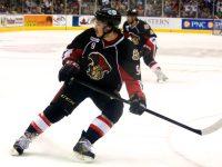 Binghamton Senators Matt Puempel and Michael Sdao. (Annie Erling Gofus/The Hockey Writers)