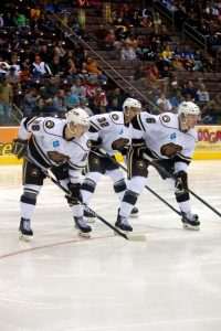 Hershey Bears Dmitry Orlov, Nicolas Deschamps and Cameron Schilling. (Annie Erling Gofus/The Hockey Writers)