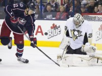 Artem Anisimov on Marc-Andre Fleury (Greg Bartram-USA TODAY Sports)