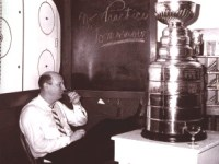 Punch Imlach enjoys a quiet moment after the Leafs 1963 Stanley Cup victory