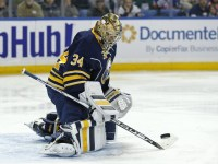 Michal Neuvirth has been facing lots of shots all season long while starting in the Sabres' crease, so the goalie comes to Long Island having established some sort of playing rhythm - something that Chad Johnson was simply unable to do. (Kevin Hoffman-USA TODAY Sports)
