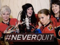 The Cowtown Opera sings the Flames hashtag #NeverQuit